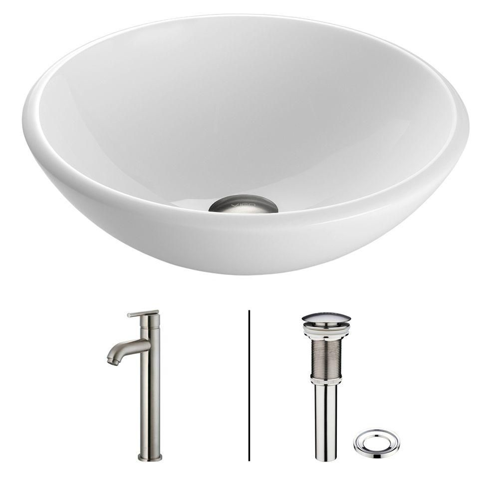 Stone Vessel Sink in White Phoenix with Seville Faucet in Brushed Nickel