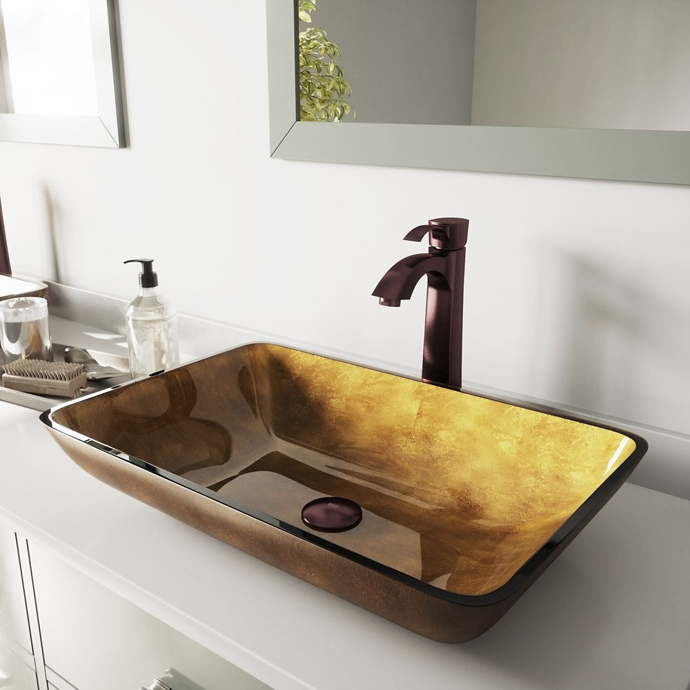 Glass Vessel Sink in Rectangular Copper with Faucet in Oil-Rubbed Bronze