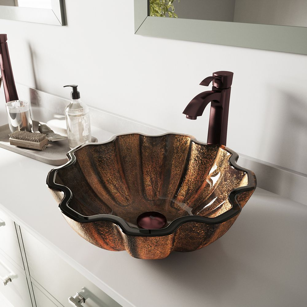 Glass Vessel Sink in Walnut Shell with Faucet in Oil-Rubbed Bronze
