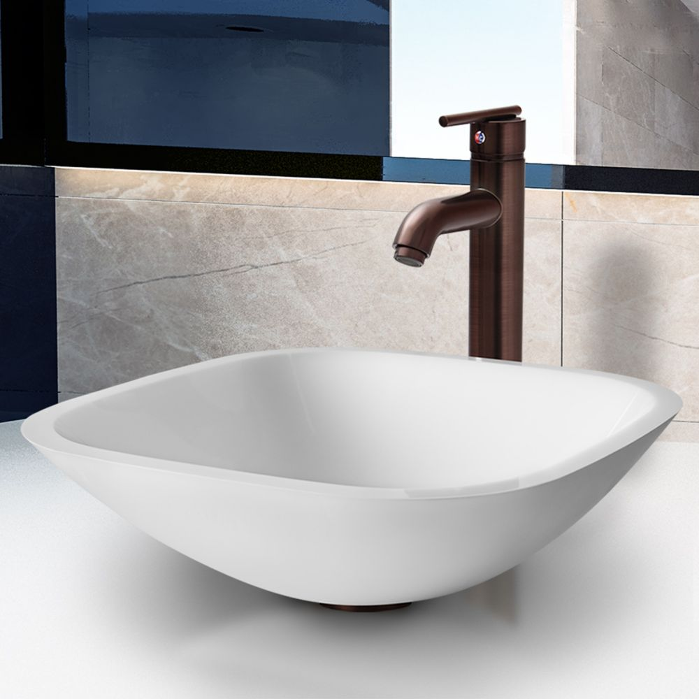 Square Shaped Stone Vessel Sink in White Phoenix with Seville Faucet in Oil-Rubbed Bronze