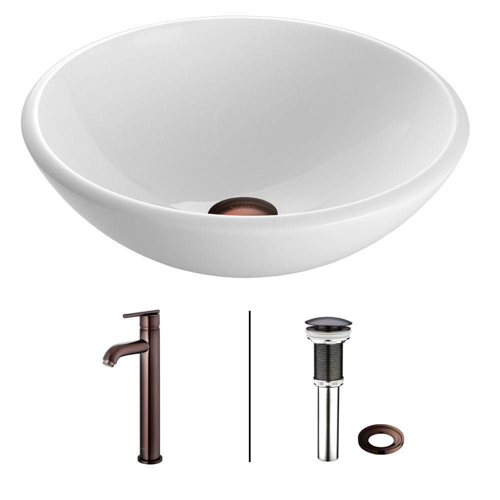Stone Vessel Sink in White Phoenix with Seville Faucet in Oil-Rubbed Bronze
