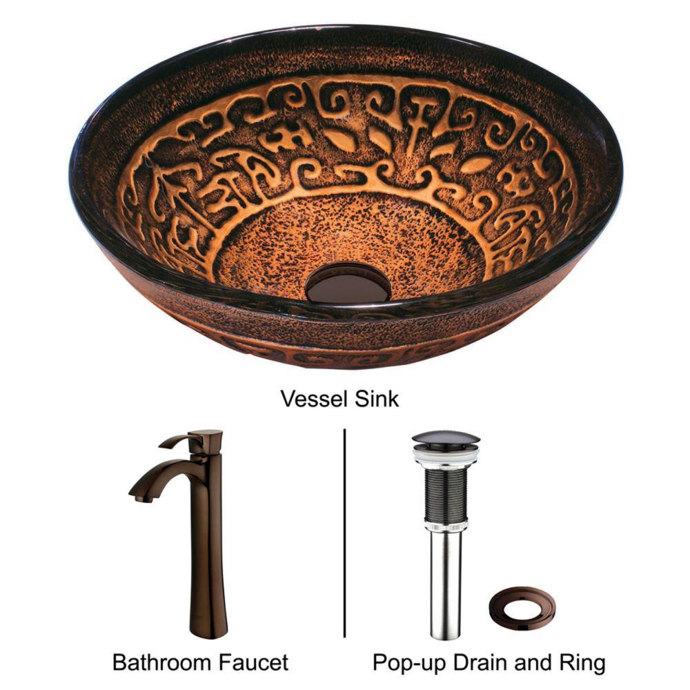 Vigo Glass Vessel Sink in Golden Greek with Faucet in Oil-Rubbed Bronze