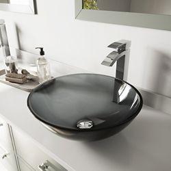 VIGO Ensemble de vasque de salle de bains en verre noir Sheer de  et robinet chromé Duris