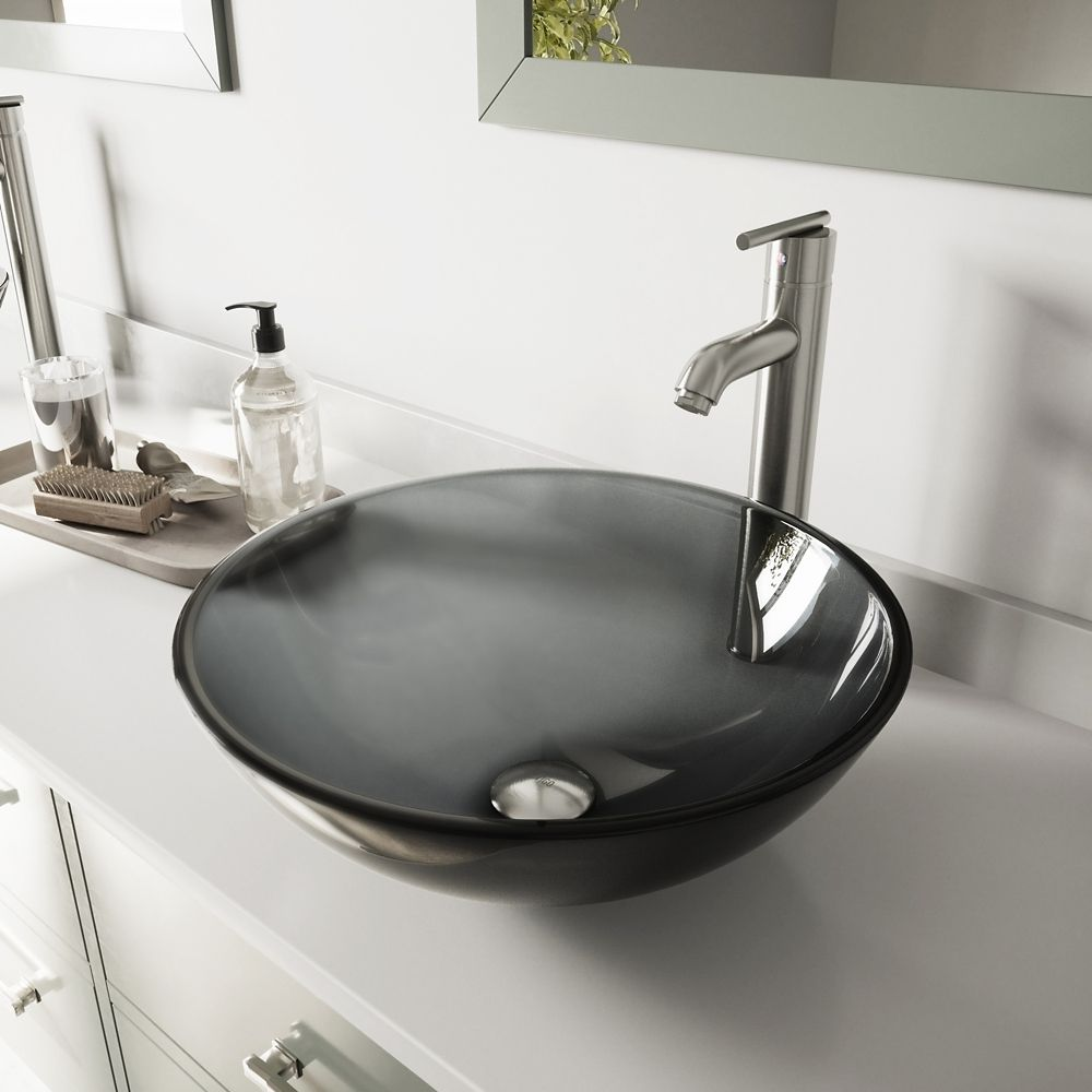 Glass Vessel Sink in Sheer Black with Faucet in Brushed Nickel
