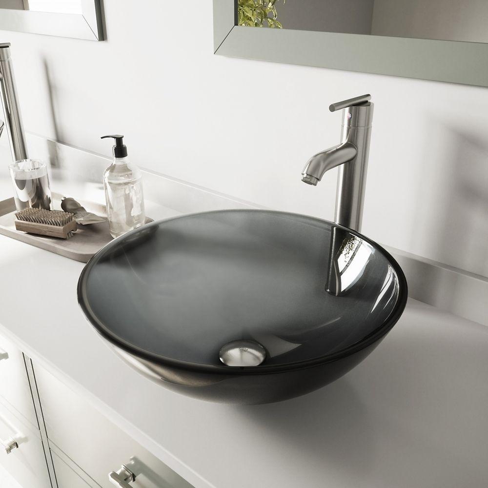 Glass Vessel Sink in Sheer Black with Faucet in Brushed Nickel