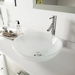 VIGO Glass Vessel Bathroom Sink in White Frost with Faucet Set in Chrome