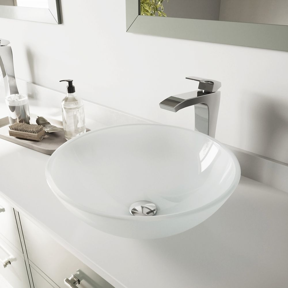 Vessel Sink in White Frost with Faucet in Chrome