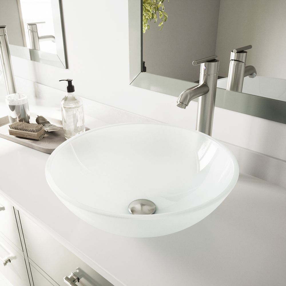 Glass Vessel Sink in White Frost with Faucet in Brushed Nickel