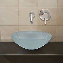 VIGO Glass Vessel Bathroom Sink in White Frost with Wall-Mount Faucet Set in Brushed Nickel