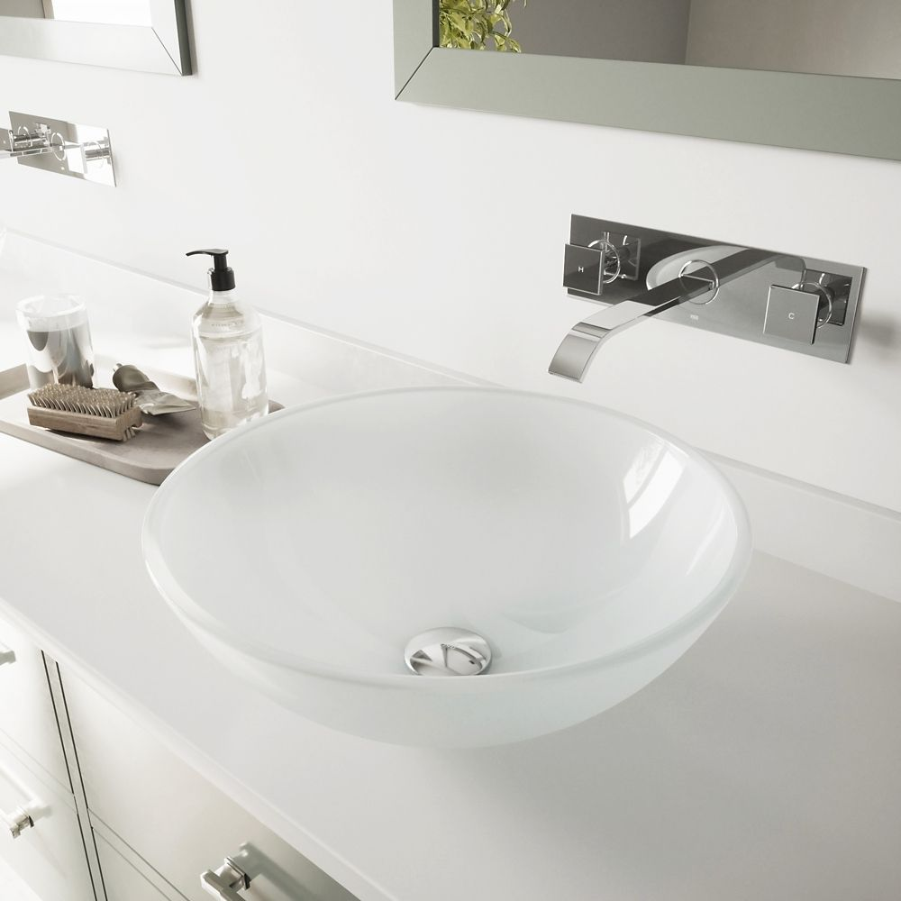 Vigo Vessel Sink in White Frost with Wall-Mount Faucet in Chrome