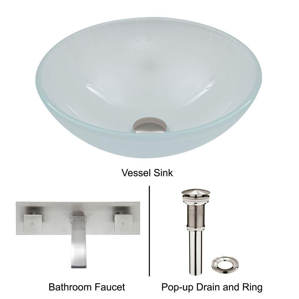 Glass Vessel Sink in White Frost with Wall-Mount Faucet in Brushed Nickel