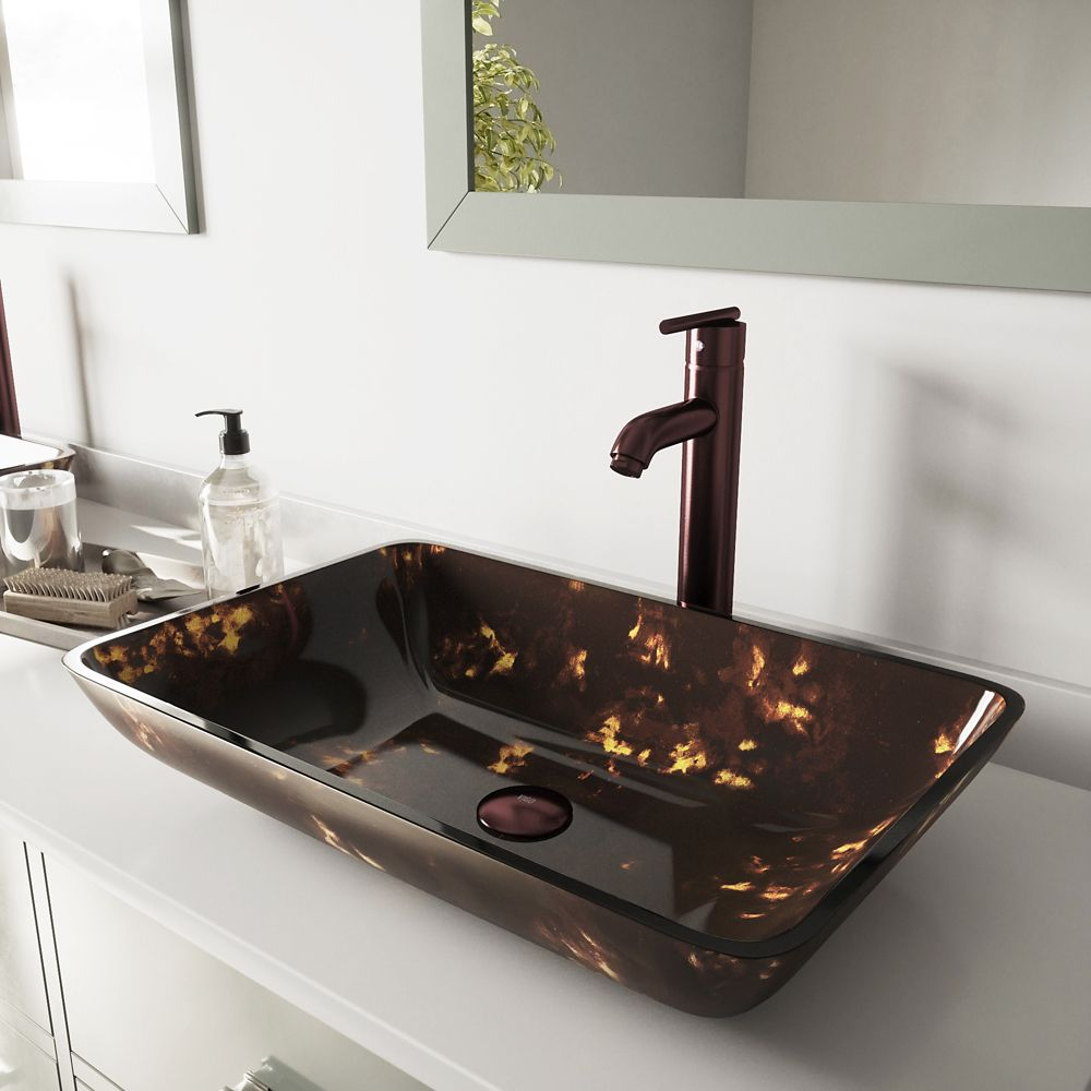 Vigo Glass Vessel Sink in Rectangular Brown and Gold Fusion with Faucet in Oil-Rubbed Bronze