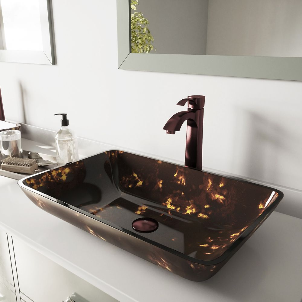 Glass Vessel Sink in Rectangular Brown and Gold Fusion with Faucet in Oil-Rubbed Bronze