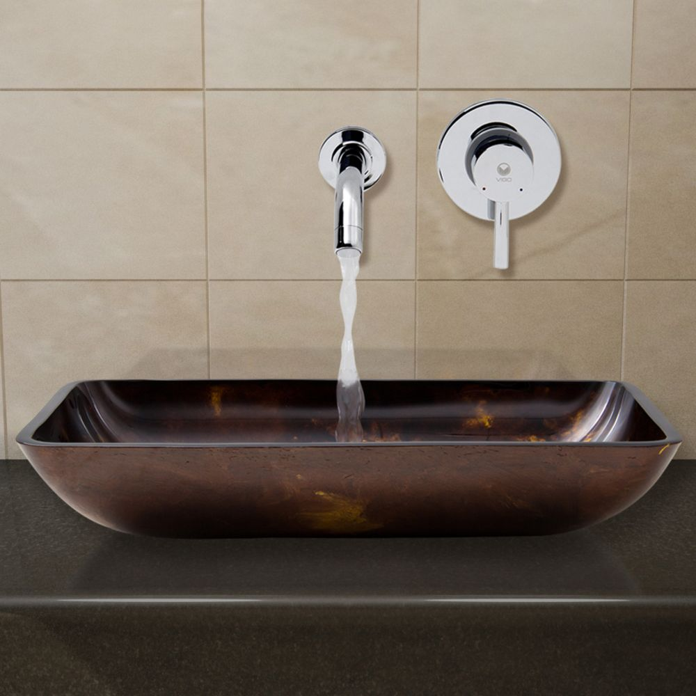Glass Vessel Sink in Rectangular Brown and Gold Fusion with Wall-Mount Faucet in Chrome