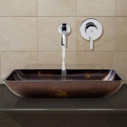 VIGO Ensemble de vasque de salle de bains en verre rectangulaire brun et doré Fusion de  et robinet mural chromé Olus