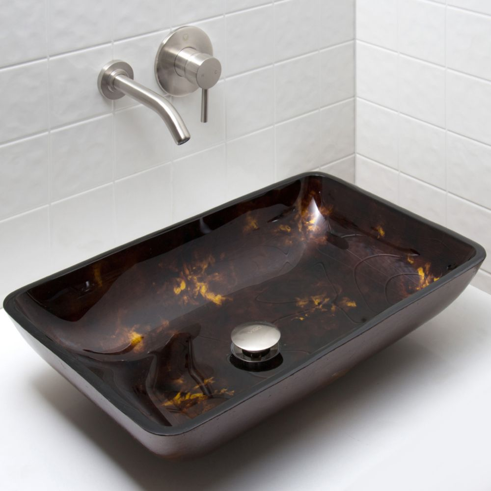 Ensemble Lavabo en Verre Rectangulaire et Robinet Mural Brown and Gold Fusion  en  nickel brossé