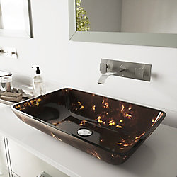VIGO Rectangular Glass Vessel Bathroom Sink in Brown and Gold Fusion with Wall-Mount Faucet Set in Brushed Nickel