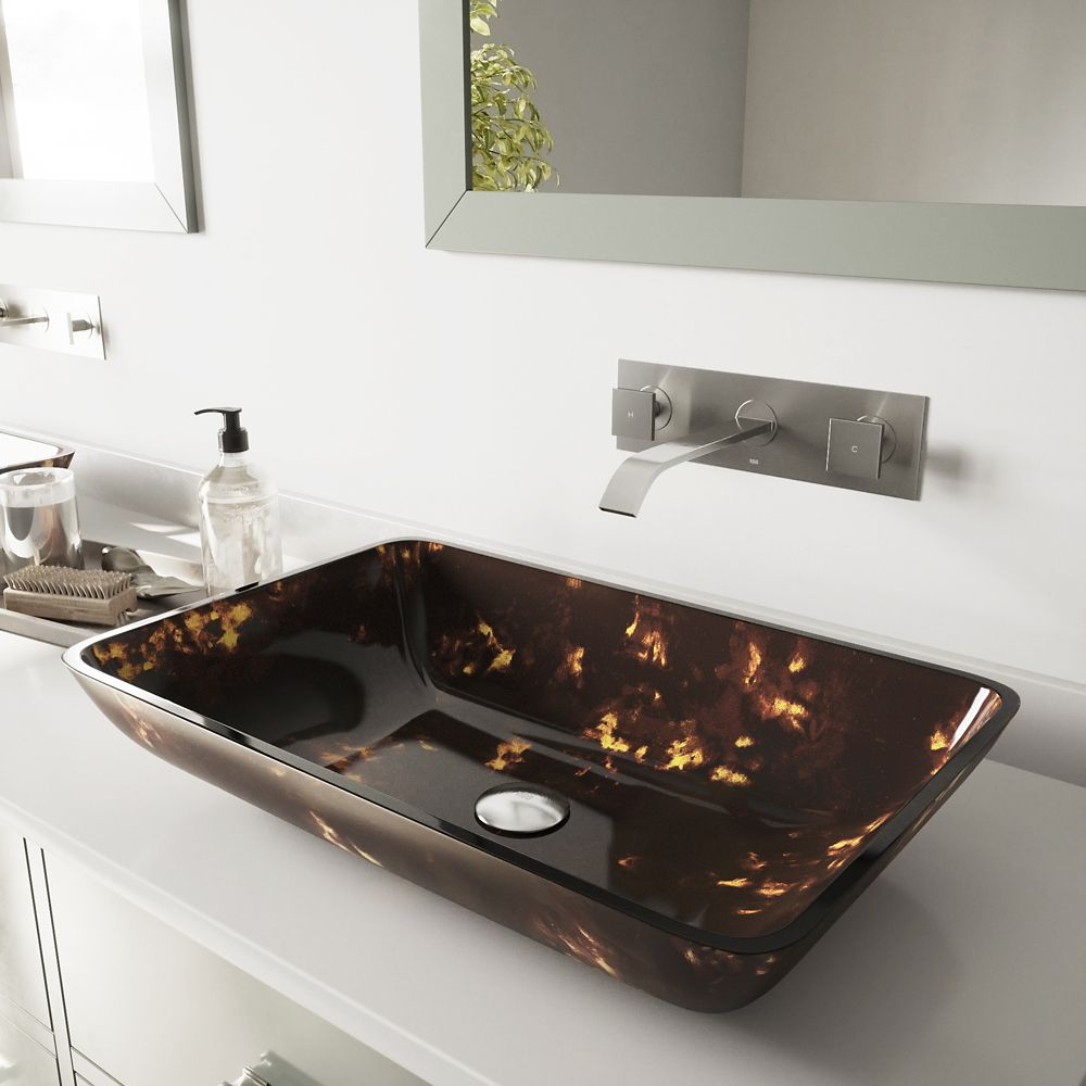 Glass Vessel Sink in Rectangular Brown and Gold Fusion with Wall-Mount Faucet in Brushed Nickel