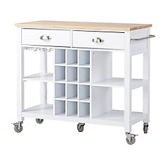 Wide Kitchen Island Cart in White