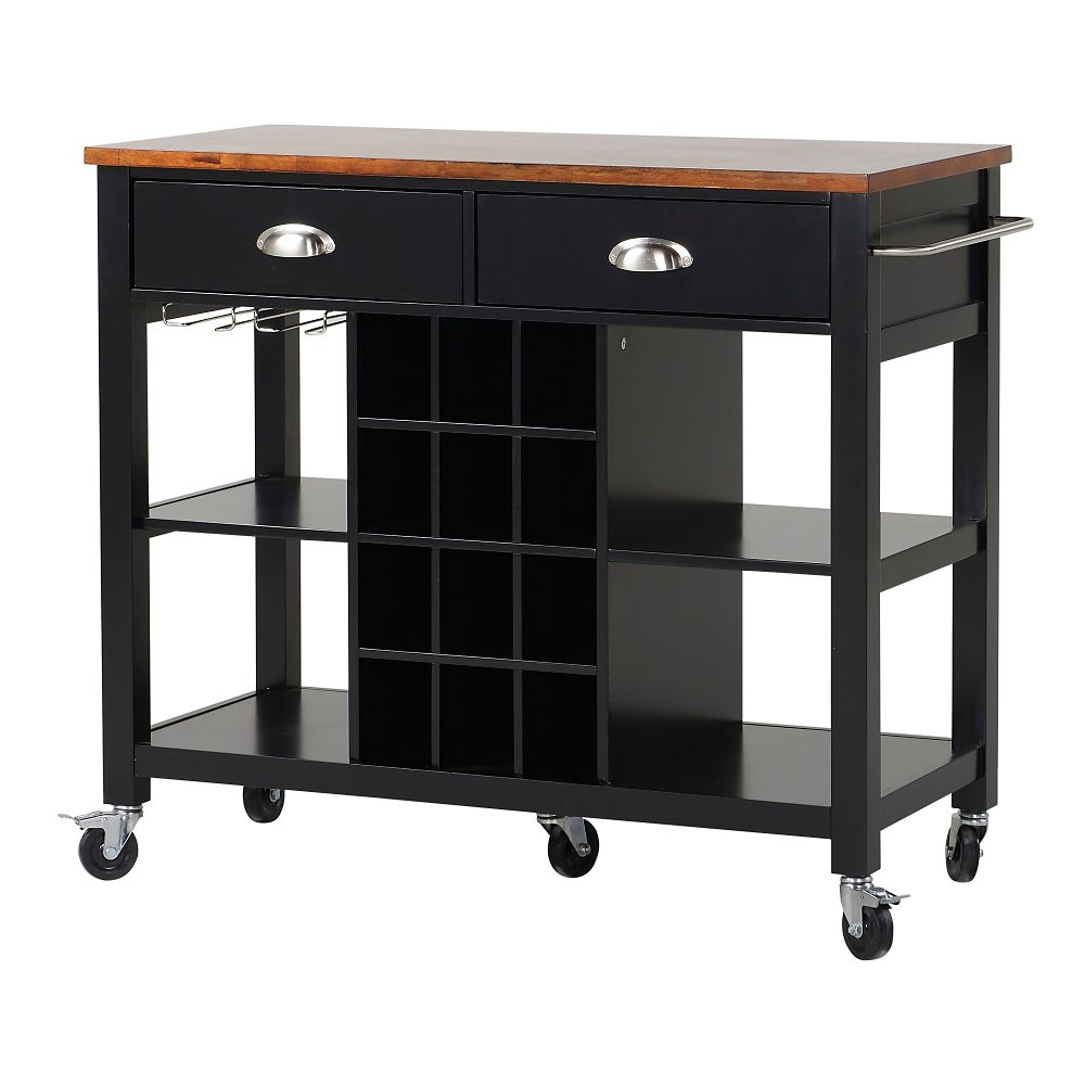 Homestar Wide Kitchen Island Cart In Black The Home