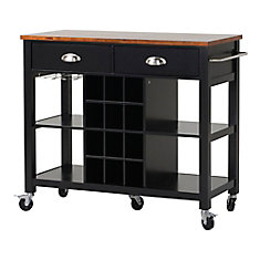 Wide Kitchen Island Cart in Black