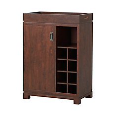 Wine Cabinet in Brown with Removable Top Tray