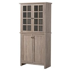 Homestar 2-Door Glass Storage Cabinet in Reclaimed Wood