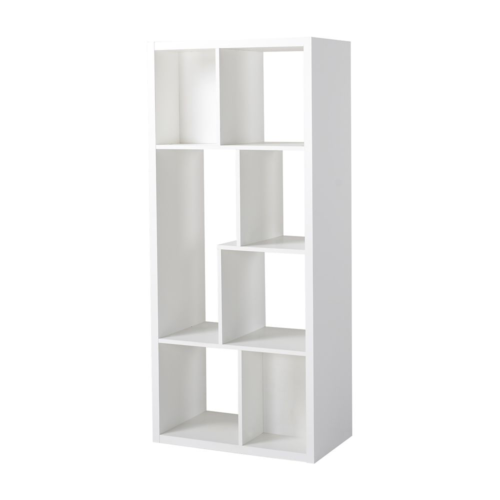 7 Compartment Shelving Console in White