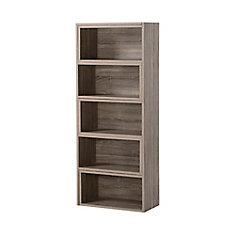 23.72-inch x 58.71-inch x 11.93-inch Manufactured Wood Bookcase in Grey