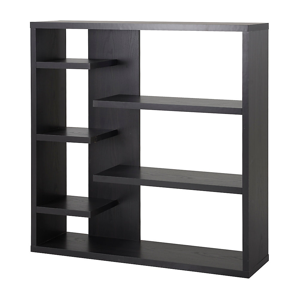 43.34-inch x 43.22-inch x 11.03-inch 6-Shelf Manufactured Wood Bookcase in Black