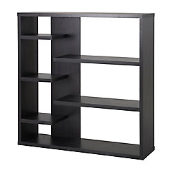 Homestar 43.34-inch x 43.22-inch x 11.03-inch 6-Shelf Manufactured Wood Bookcase in Black