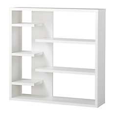 43.34-inch x 43.22-inch x 11.03-inch 6-Shelf Manufactured Wood Bookcase in White