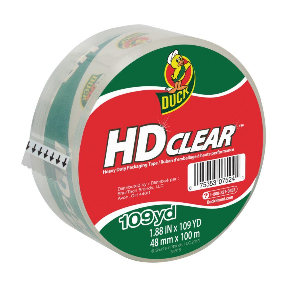 Duck HD Clear Heavy Duty Packaging Tape, 1.88 inch x 109 yds., Clear