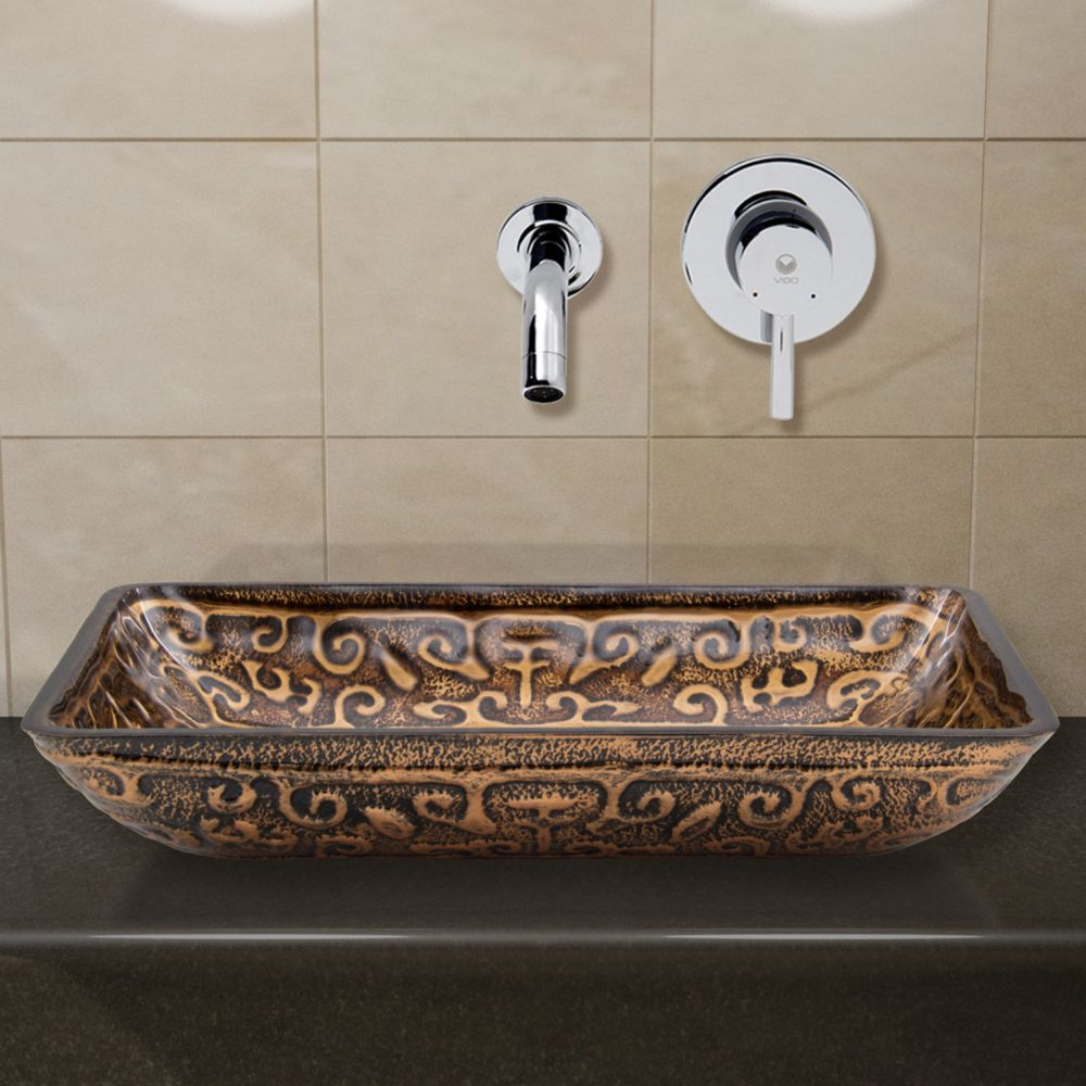 Glass Vessel Sink in Rectangular Golden Greek with Wall-Mount Faucet in Chrome
