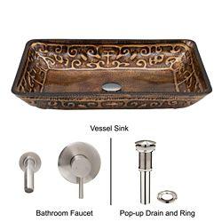 VIGO Glass Vessel Sink in Rectangular Golden Greek with Wall-Mount Faucet in Brushed Nickel