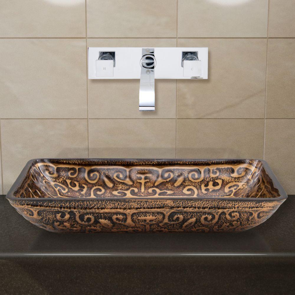 Vigo Glass Vessel Sink in Rectangular Golden Greek with Wall-Mount Faucet in Chrome