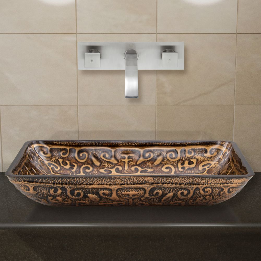 Vigo Glass Vessel Sink in Rectangular Golden Greek with Wall-Mount Faucet in Brushed Nickel