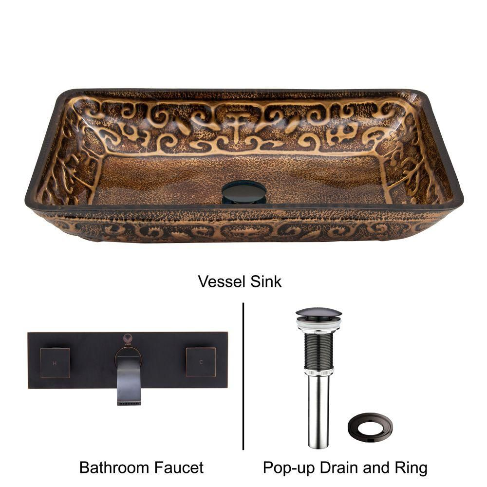 Rectangular Glass Vessel Sink in Golden Greek with Wall-Mount Faucet in Antique Rubbed Bronze