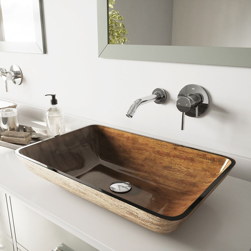 Vigo Glass Vessel Sink in Rectangular Amber Sunset with Wall-Mount Faucet in Chrome