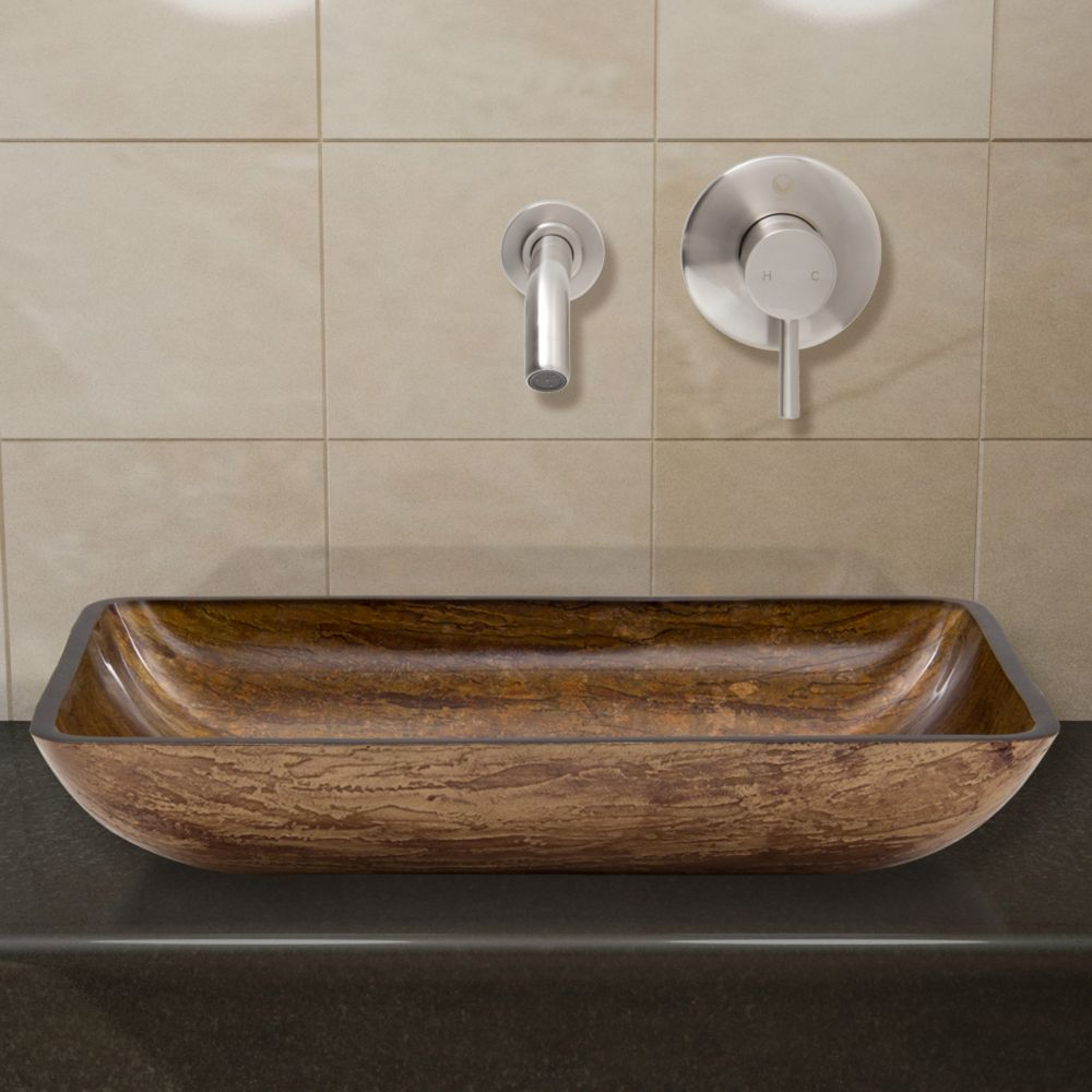 Glass Vessel Sink in Rectangular Amber Sunin with Wall-Mount Faucet in Brushed Nickel