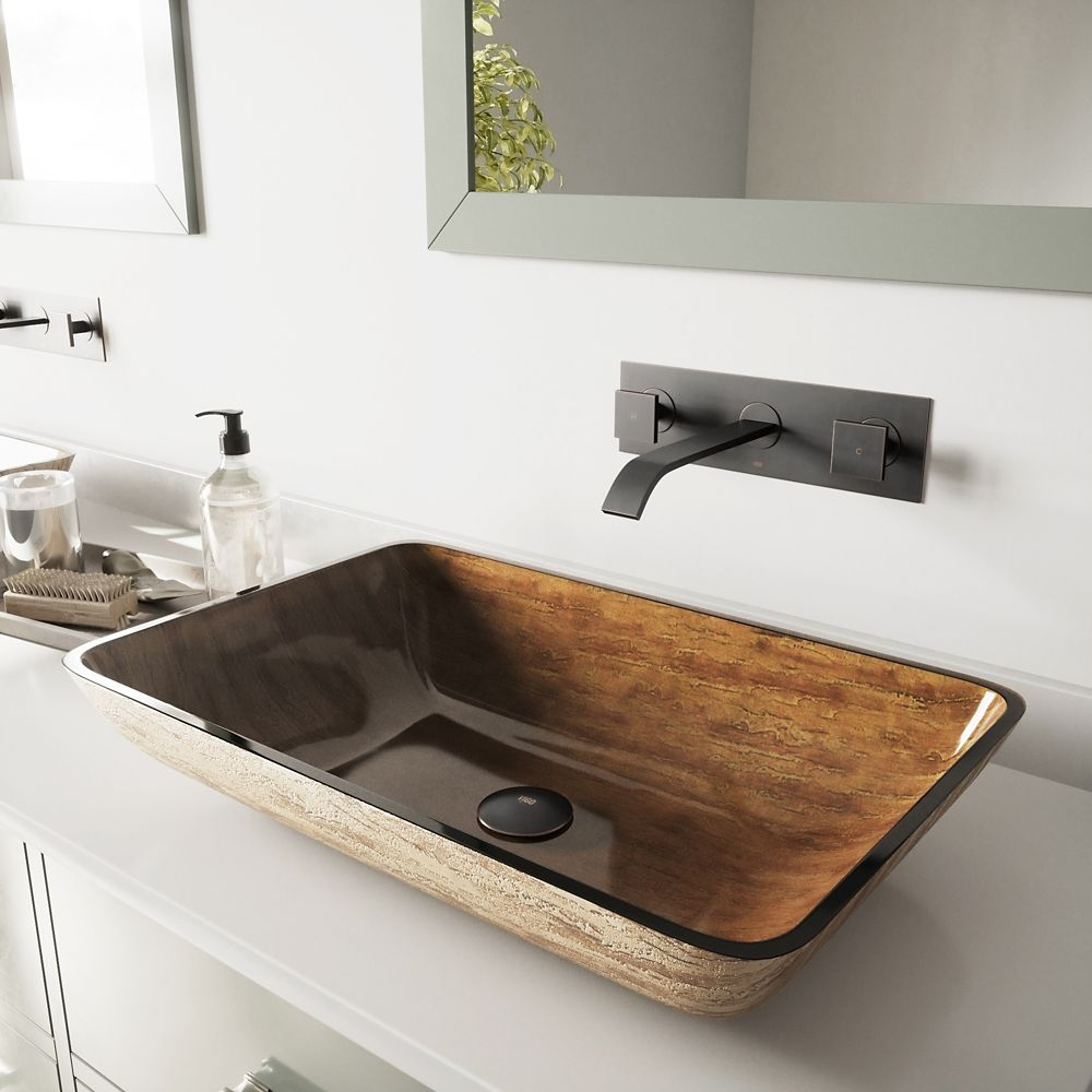 Rectangular Glass Vessel Sink in Amber Sunset with Wall-Mount Faucet in Antique Rubbed Bronze