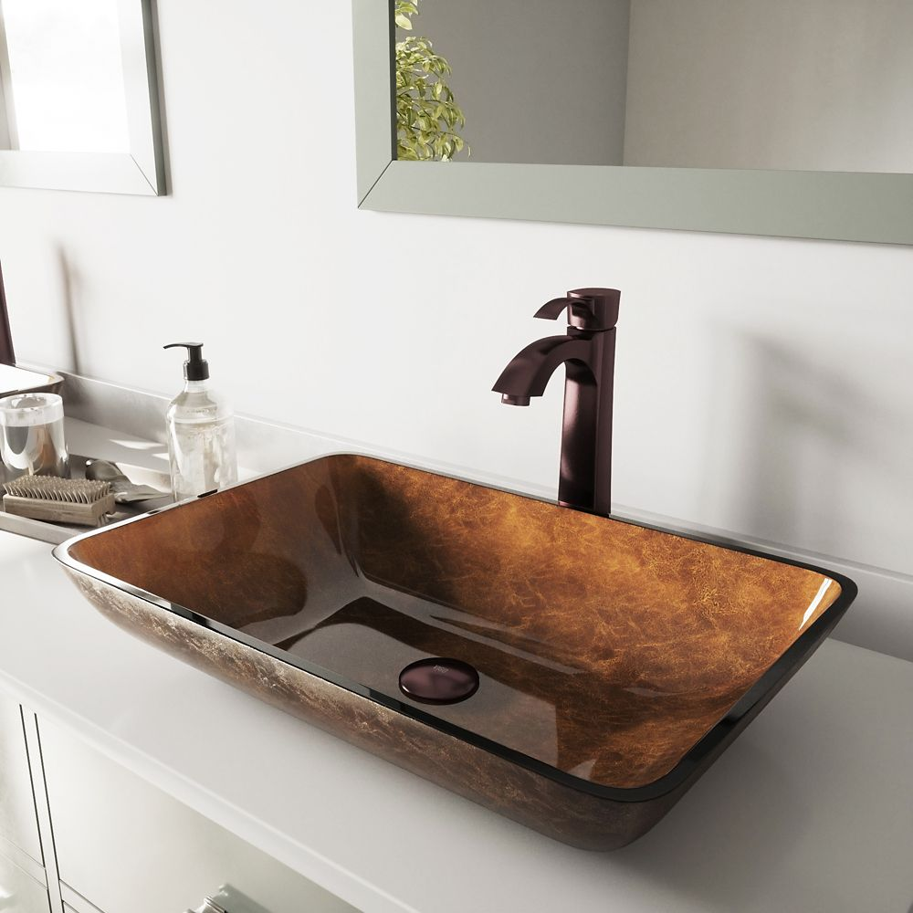 Glass Vessel Sink in Rectangular Russet with Faucet in Oil-Rubbed Bronze