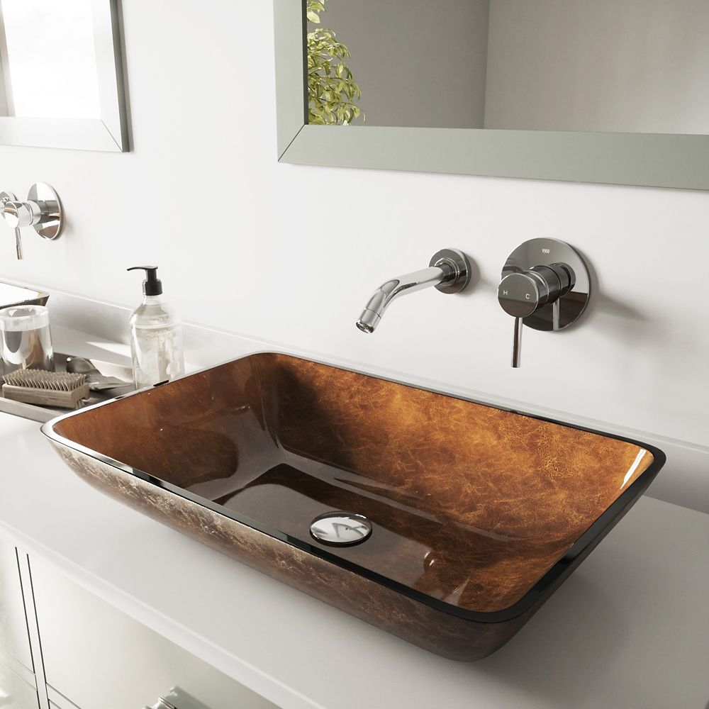 Glass Vessel Sink in Rectangular Russet with Wall-Mount Faucet in Chrome