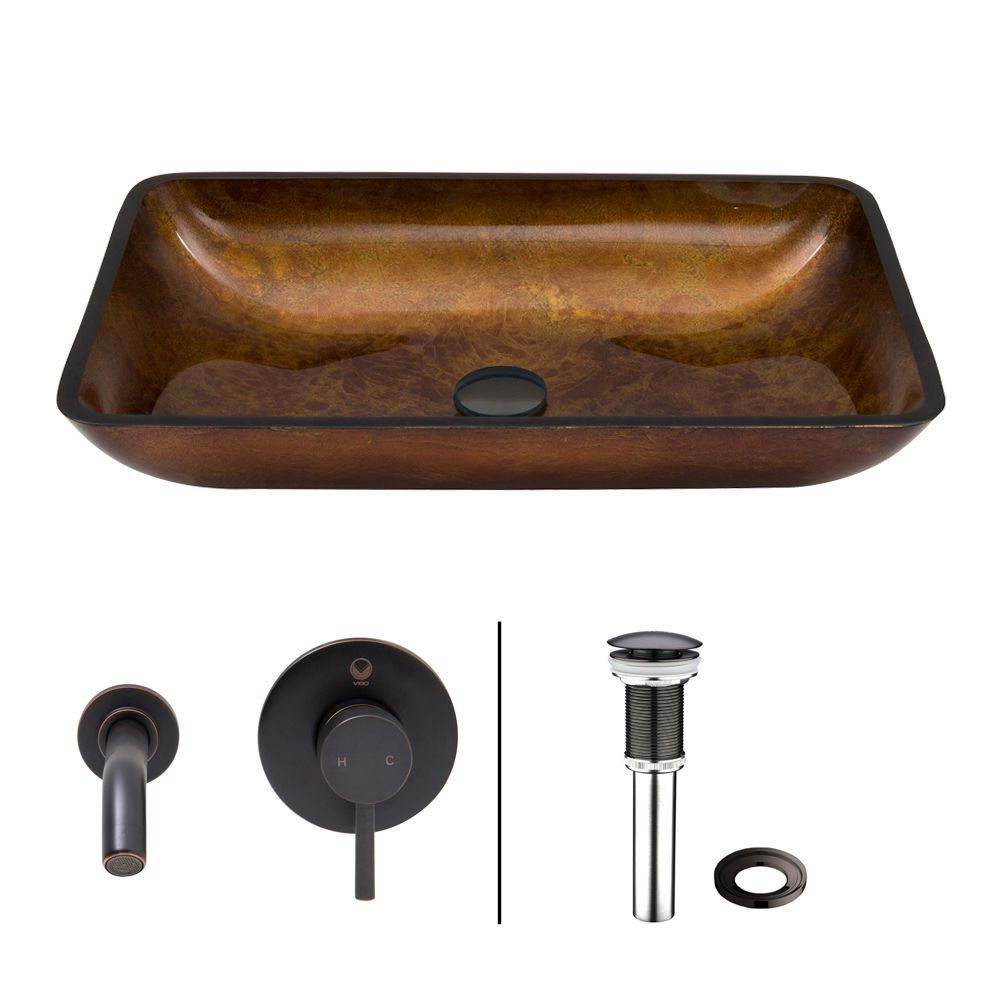 Rectangular Glass Vessel Sink in Russet with Wall-Mount Faucet in Antique Rubbed Bronze