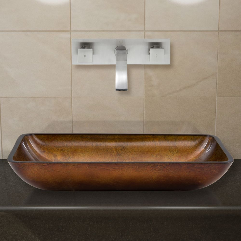 Glass Vessel Sink in Rectangular Rusin with Wall-Mount Faucet in Brushed Nickel