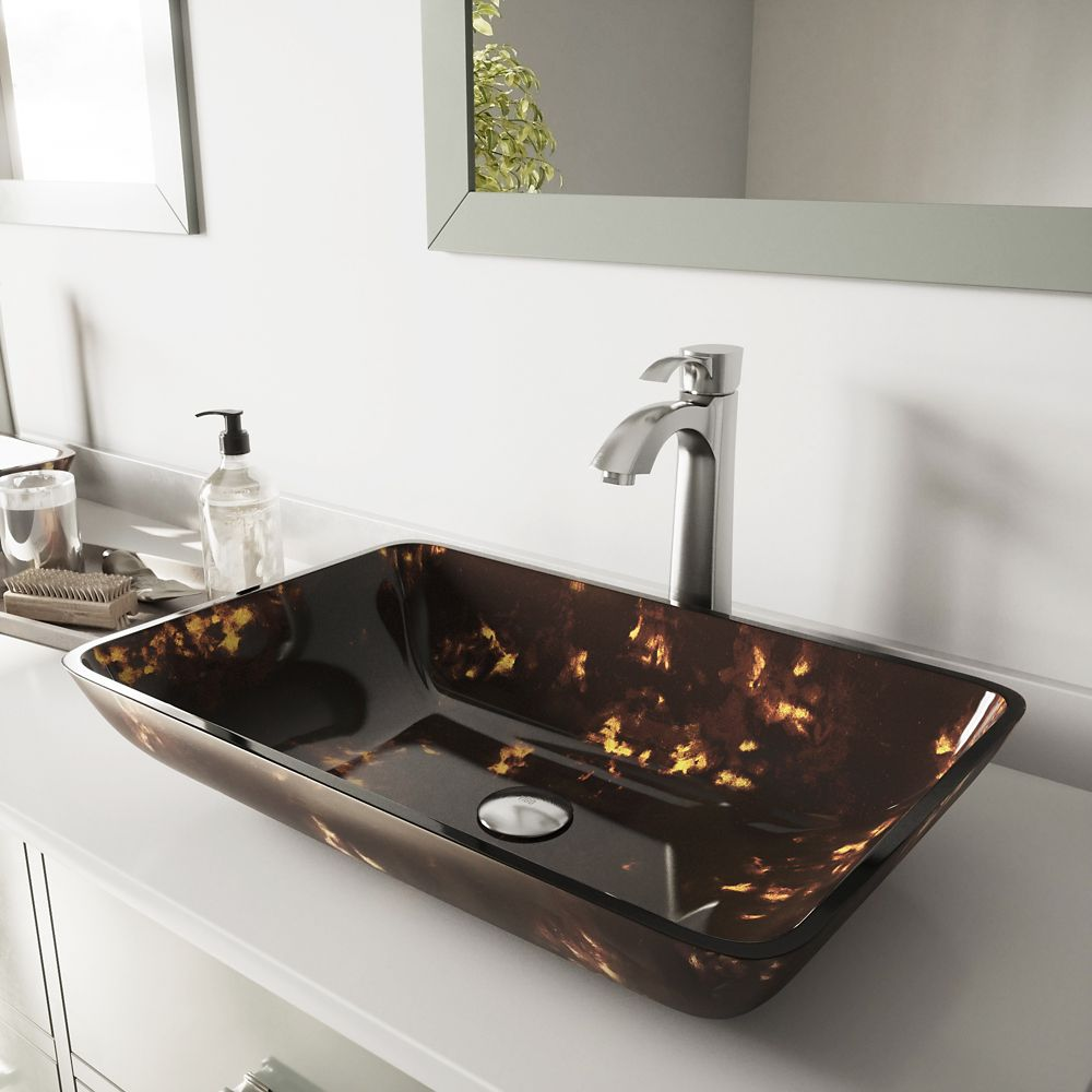 Glass Vessel Sink in Rectangular Brown and Gold Fusion with Otis Faucet in Brushed Nickel