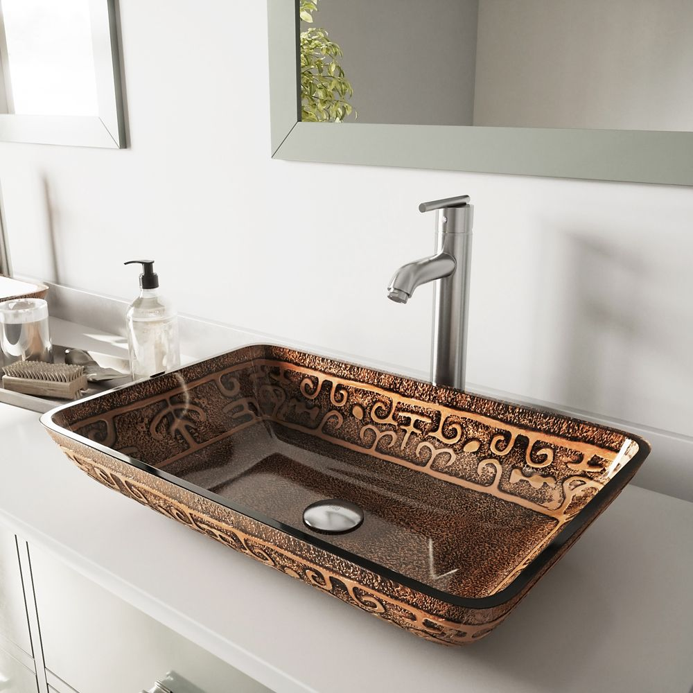 Glass Vessel Sink in Rectangular Golden Greek with Faucet in Brushed Nickel