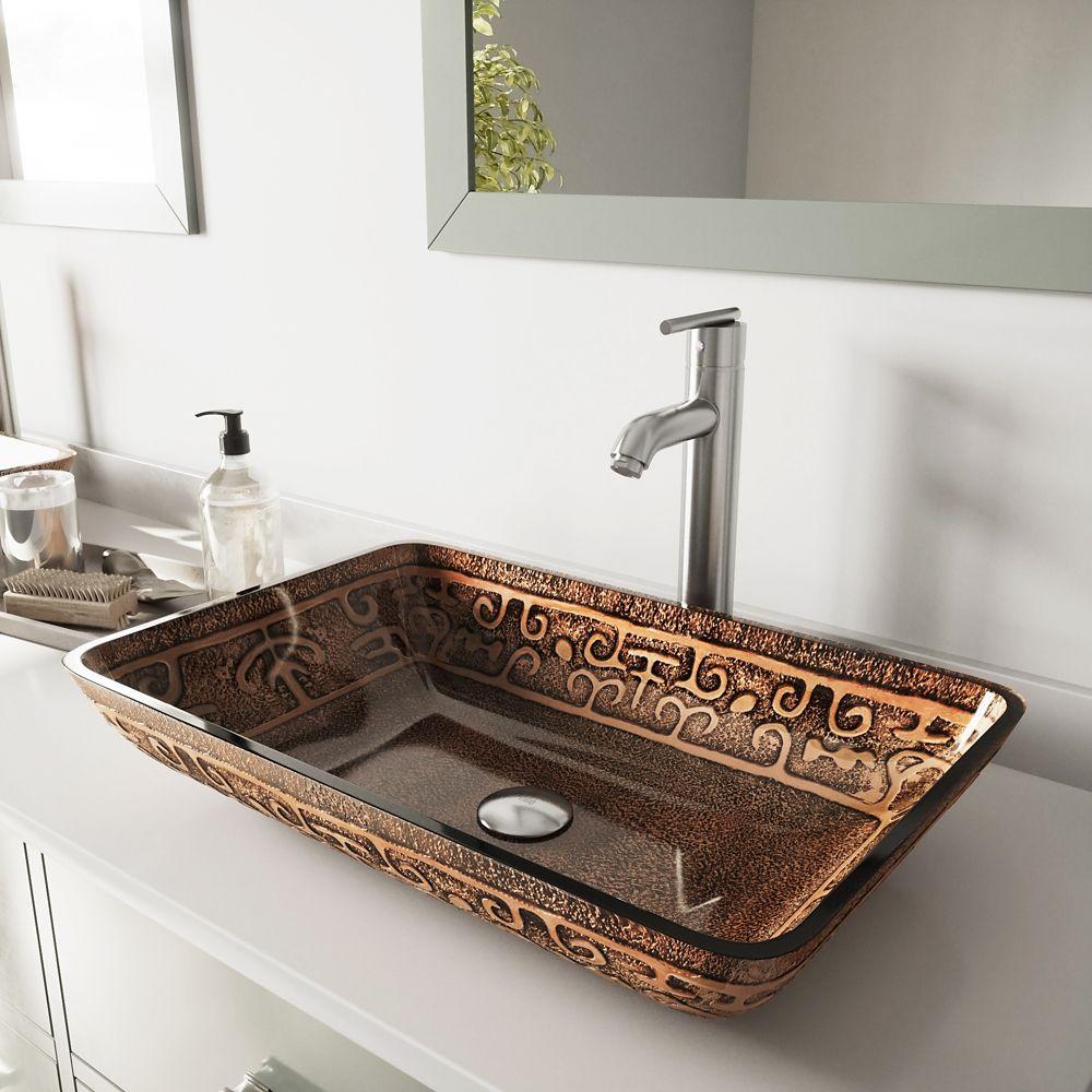 Vigo Glass Vessel Sink in Rectangular Golden Greek with Faucet in Brushed Nickel