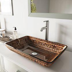 VIGO Rectangular Glass Vessel Bathroom Sink in Golden Greek with Faucet Set in Brushed Nickel