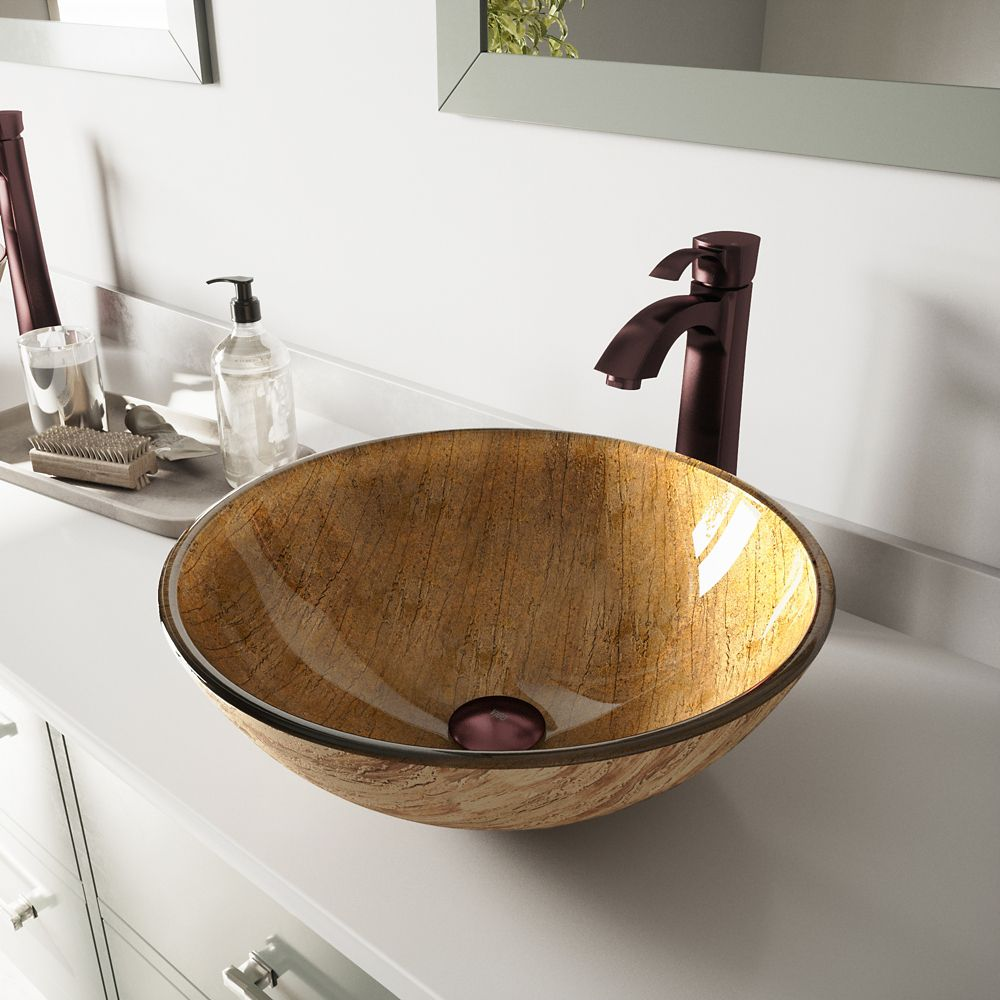 Glass Vessel Sink in Amber Sunset with Otis Faucet in Oil-Rubbed Bronze